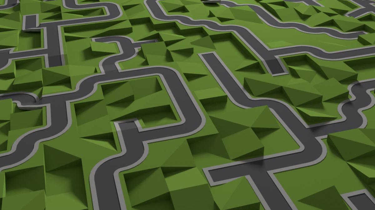 python  maze based road generator - work in progress